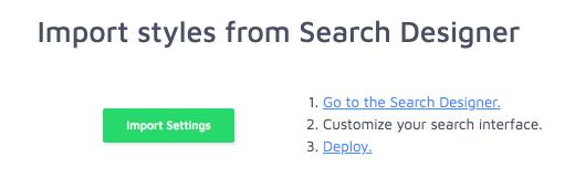 import search designer settings into wordpress