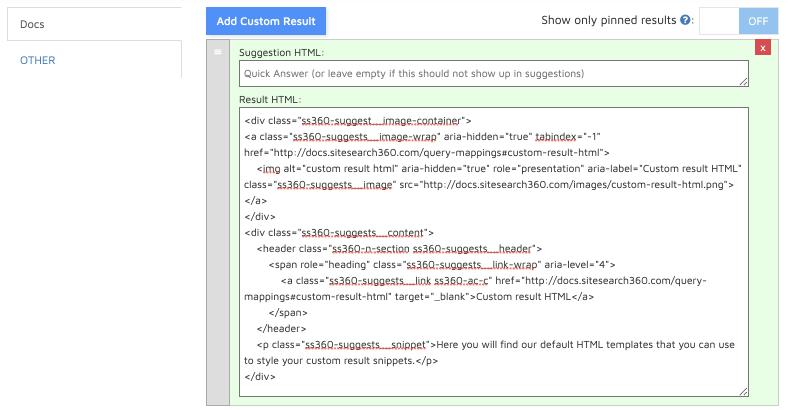 custom result html