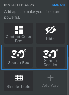 360 search box and 360 search results installed on Weebly