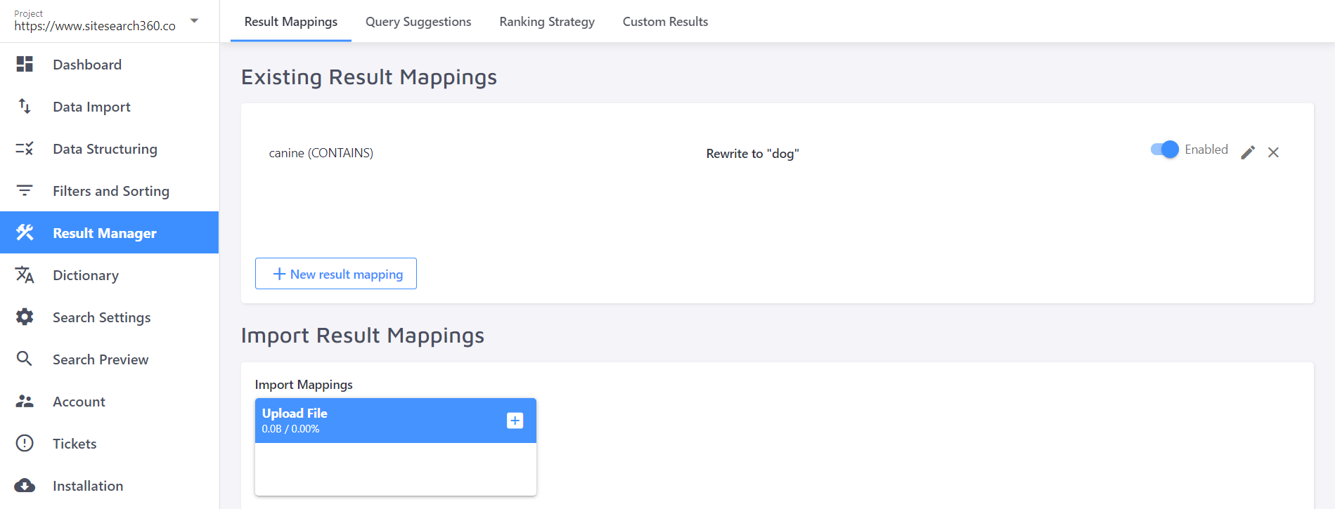 set up custom results for search queries