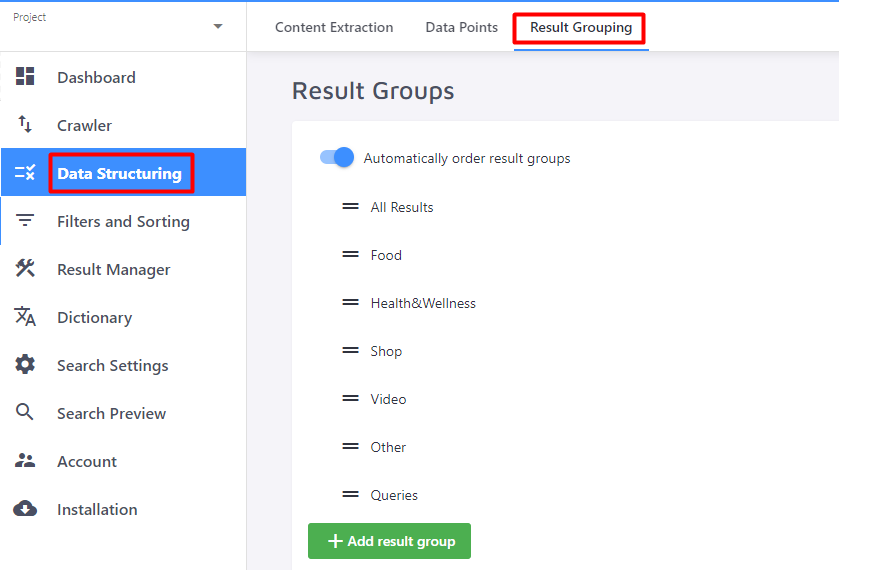 Result Grouping section in the Control Panel