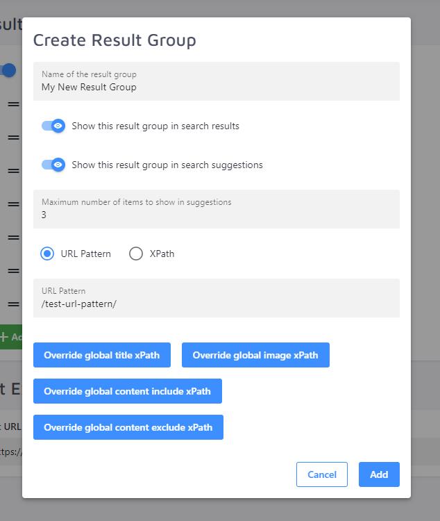 Result Group creation menu