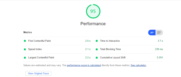 SS360 documentation site performance measured with Google Lighthouse