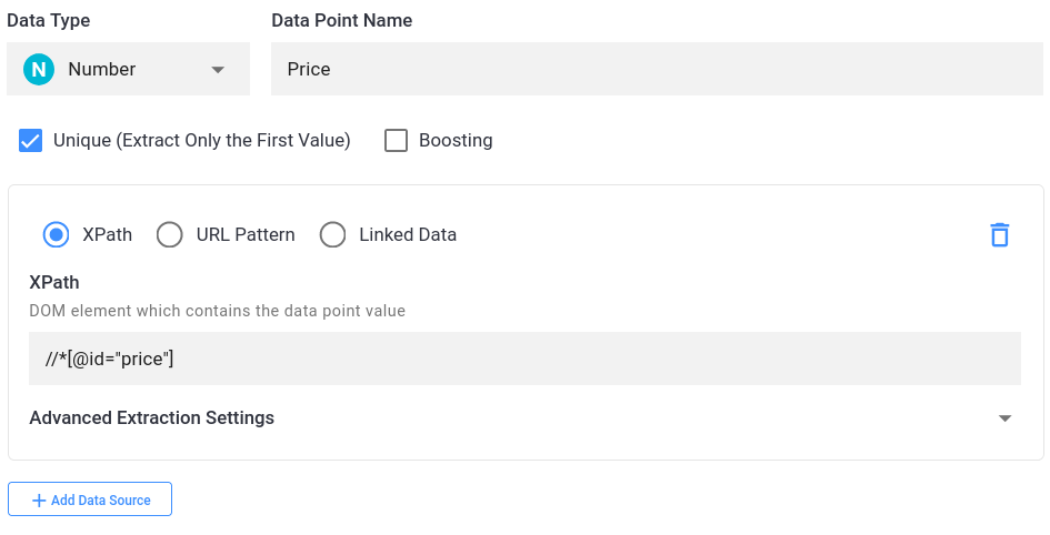 price data point