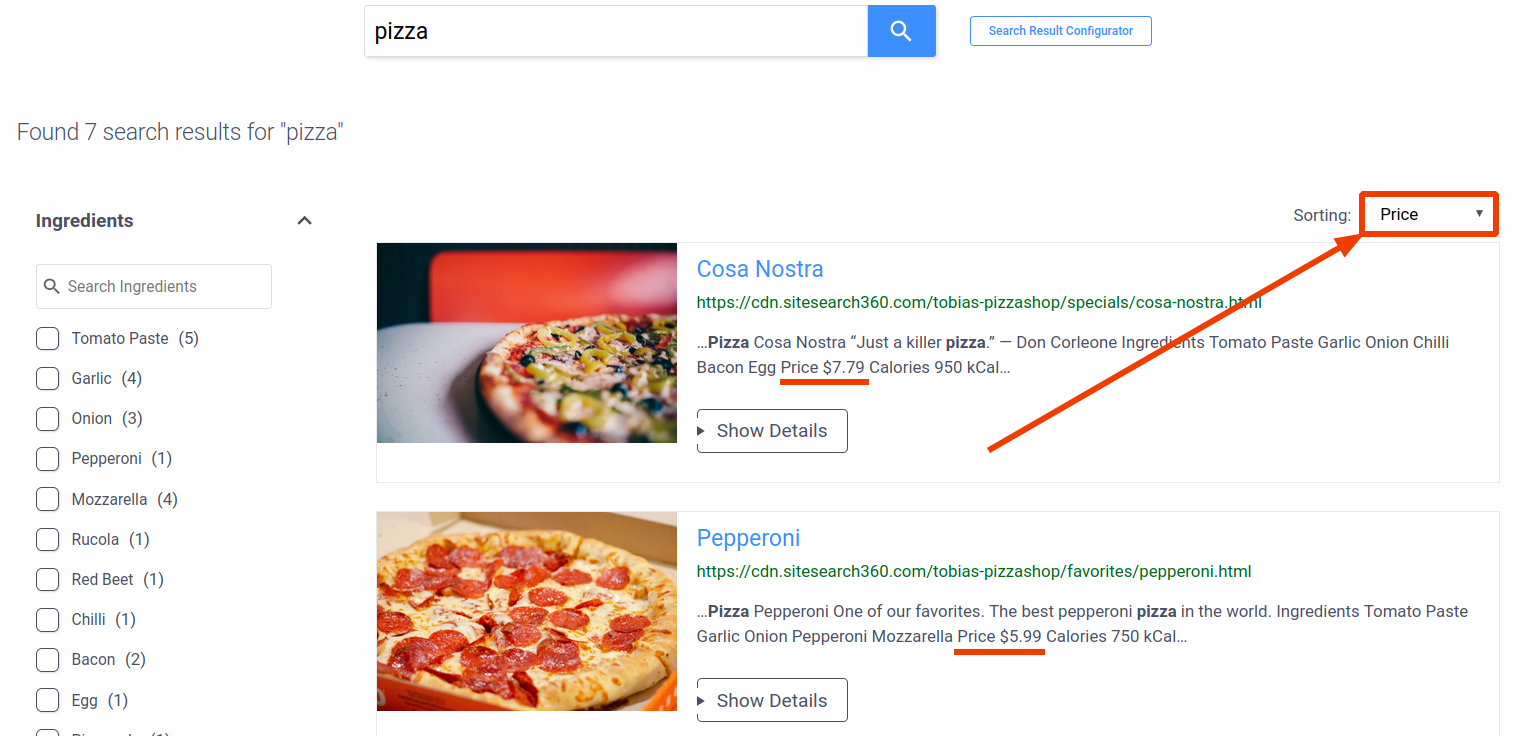 search preview with sorting dropdown